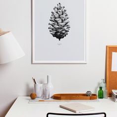 Nature 1:1 Pine Cone poster, grey | Posters | Decoration | Finnish Design Shop