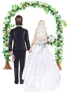 Wedding Drawing, Wedding Painting, Wedding Art, Watercolor Wedding, Wedding Dress Illustrations, Wedding Illustration, Couple Illustration, Picture Wreath, Relationship Drawings