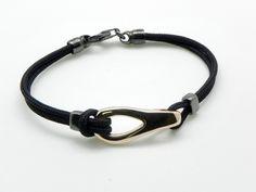 Gold and silver bracelet, nylon.
