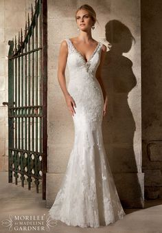 Mori Lee - Mackay. Diamante beaded embroidery on alencon lace and net with wide hemline.