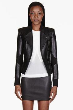 DION LEE Black Leather Cut-Out 3D Filter Jacket