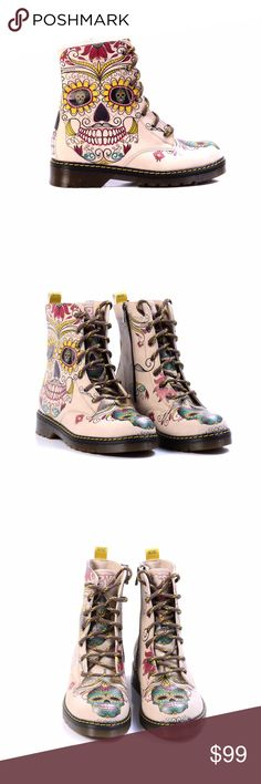Women's Shoes 'Buttercup Sugar Skull Combat Boot' Accent everyday attire with the artistic and charming design of this classic combat boot wrapped in an eye-catching print. 1.5'' heel 7.5'' shaft 11'' circumference Lace-up / side zip closure Man-made upper Fabric lining Textile insole Man-made sole Made in Turkey goby Shoes Ankle Boots & Booties