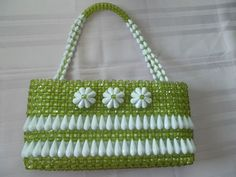 1960s Chartreuse Green Plastic Beaded Handbag