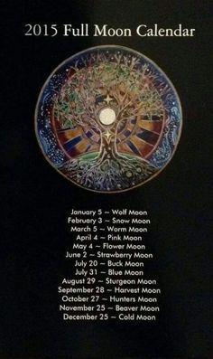 2015 Full Moon Calendar tree of life Mandala- lunar calendar. Virgo, Sturgeon Moon, You Are My Moon, Into The Wild, Moon Calendar, 2015 Calendar, Pink Moon, Wolf Moon, Moon Magic