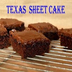 Chocolate Texas Sheet Cake is perfect for a crowd.The frosting is so good you can eat it with a spoon and the cake is so moist it will last a week. Texas Chocolate Sheet Cake, Chocolate Cake, Chocolate Lovers, Cake Cookies, Cupcake Cakes, Cupcakes, Food Cakes, Cake Recipes, Dessert Recipes