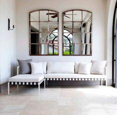 mirror over couch - tea terrace