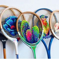 Ran out of fabric for your #embroidery? Take a page from @fiance_knowles' book and use old #rackets instead!