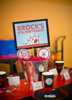 Cool centerpiece at a Bowling Birthday Party!  See more party ideas at CatchMyParty.com!