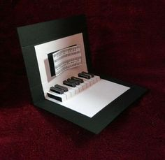 Greetings Cards,Hand-made Cards,Pop-Up,Piano,Happy Birthday,Birthday Card,Black and White