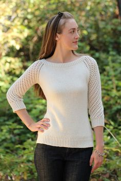 Knitting Pattern Lace Sleeve Sweater - #ad Love those sleeves! Deodara is a simple top down raglan pullover with 3/4 length lace sleeves . More pics on Etsy tba