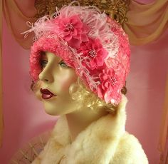 1920's Vintage Style Pink Shabby Ombre Feather Ribbonwork Cloche Flapper Hat | eBay