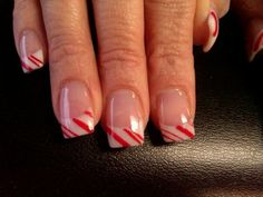 Nails....Take your Pink and Whites into Christmas with these easy stripes. Just grab a great red acrylic paint and a striping brush.