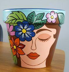 Flower Pot Art, Flower Pot Design, Clay Flower Pots, Flower Pot Crafts, Clay Pot Crafts, Painted Clay Pots, Painted Flower Pots, Hand Painted, Bottle Painting