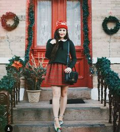 Noelle downing plaid skirt green sweater Peter Pan collar