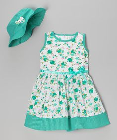 This Aqua Floral Ruffle Dress & Hat - Infant & Toddler is perfect! #zulilyfinds