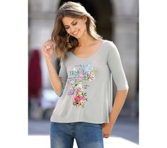 Rozšírené tričko s potlačou   modino.sk #ModinoSK #modino_sk #modino_style #style #fashion #shirt Floral Tops, T Shirt, Women, Fashion, Cut Out Shoulder Top, Neckline, Feminine, Tee, Moda