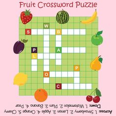 Fruit Crossword Puzzle for Kids