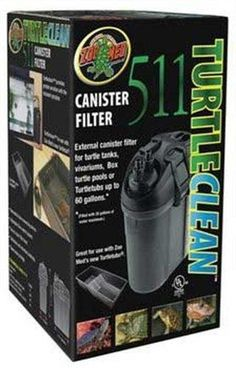 Zoo Med 511 Turtle Clean Canister Filter  External canister filter for turtle tanks, vivariums, Box turtle pools or TurtleTubs up to 60 gallons. Easy-to-open filter head. Calibrated anti-vibration bushings. Space saving device.  Features : Provides greater aeration with the included spraybar *Removable hose-connecting device *Adjustable flow control system  Color : Blacks & Grays Product dimensions : 7.4x12.5x7.6 inches Product weight : 4.6 pounds