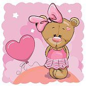 Greeting card Cute Teddy Bear girl with balloon Brown Teddy Bear, Cute Teddy Bears, Owl Cartoon, Cute Cartoon, Dibujos Baby Shower, Urso Bear, Animal Nail Designs, Goat Gifts, Baby Animals Super Cute