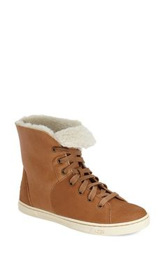 high top leather sneaker with shearling lining