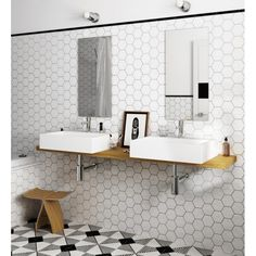 Hexagon Tile Porcelain White Tiles Bring your walls and floors right up to trend with these sleek and stylish White Hexagon Tiles. Part of our selection of Hexagonal White Tiles,. Hexagon Tile Bathroom, Hexagon Tiles, Ceramic Wall Tiles, Floor Tile Grout, Wall And Floor Tiles, Bathroom Flooring, Tiling, Wall Tile Adhesive, White Wall Tiles