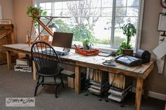 Decorating From Nothing to Something... a JUNKER'S Full Home Tour. Pretty cool desk, although rustic in look!
