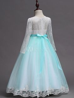 Flower Girl Dresses Mint Green Long Sleeve Lace Bow A Line Girls Pageant Party Dress Formal Dresses Online, Girls Dresses Online, Blue Midi Dress, Long Sleeve Midi Dress, Flower Girl Dresses Mint, Beautiful Party Dresses, Lace Bows, Wedding With Kids, Wedding Party Dresses