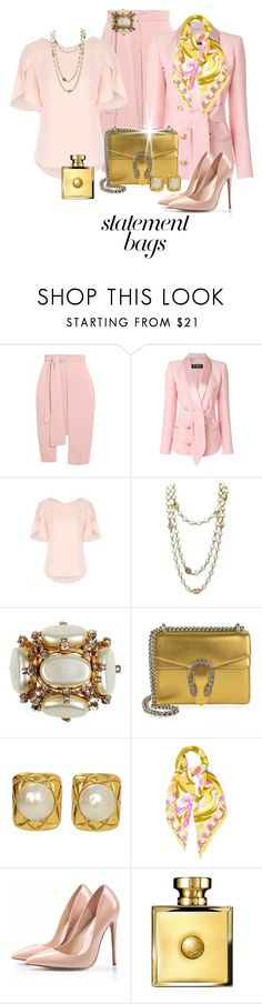 """Arm Candy:  Statement Bags"" by shamrockclover ❤ liked on Polyvore featuring Balmain, Chanel, Gucci, Emilio Pucci, Versace and statementbags"