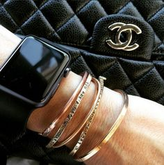 Love to stack our cuffs and bracelets with Chanel and my Apple Watch!