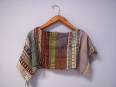 Woven Crop Top Poncho / Free Size One of A by PineSpiritWoolworks