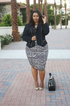 A busy geometric pattern looks fantastic when balanced with basic outerwear and accessories. If you want to wear a dress but don't want to freeze once the temperature cools down, add a simple black moto jacket overtop. See the whole look at Curves On A Budget » - GoodHousekeeping.com