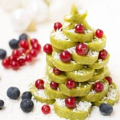 Delicious Christmas tree, made from raw pistachio cookies