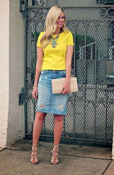 Loving bright yellow for Spring and Summer. This destroyed knee length pencil denim skirt is the perfect addition.