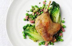 ... bacon and mint braised gressingham duck leg peas lettuce bacon mint