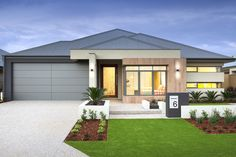 Discover Home Group's newest display homes in Perth. We can help you build your new home with no saving & no guarantor! Family House Plans, Modern House Plans, Modern House Design, Modern Exterior, Exterior Colors, Facade Design, Exterior Design, Future House, Front Yard Garden Design