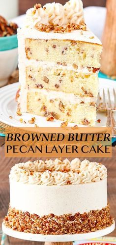 This Browned Butter Pecan Layer Cake has three layers of buttery vanilla cake filled with toasted pecans that are covered with a delicious browned butter frosting! It's the perfect cake for the holidays! Biscoff Cookie Butter, Butter Pecan Cake, Butter Cakes, Brown Butter Cake Recipe, Butter Pie, Peanut Butter, Brown Butter Frosting, Nutter Butter, Food Cakes