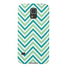 Turquoise and Green Modern Chevron Stripes Samsung Galaxy S5 Case