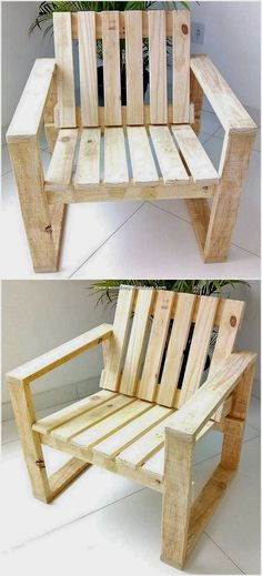 Beautifully implicated out with the simplicity and elegance, this wood pallet chair design will make you feel so awesome. Clean sleek simple designing of the chair through the wood pallet crafting has Wood Pallet Crafts, Diy Pallet Projects, Wooden Pallets, Home Projects, Woodworking Projects, Diy Wood, Pallet Wood, Wooden Pallet Ideas, 1001 Pallets