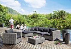 Canapé d'angle de jardin 4 places Cape Town en résine  tressée Maisons du Monde