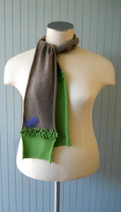 UPCYCLED CASHMERE SCARF  Green & Brown  by HandmadeByKatieGirl, $65.00