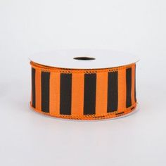This satin ribbon is an ideal basic pattern because it works with almost any project. The orange base is topped with painted black stripes that are of equal widths, and it has a heavier body than standard satin ribbons, so it holds its shape nice Deco Mesh Wreath Supplies, Deco Mesh Ribbon, Wired Ribbon, Fabric Ribbon, Deco Mesh Wreaths, Halloween Deco Mesh, Fall Halloween, Christmas Deco, New Product