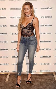 Hey ladies! Here you have an ideia on how to purchase this iconic look. Blue skinny jeans, sexy black lingerie body and simple and elegant black high hill sandals. #ad #khloekardashian #ShopStyle #shopthelook