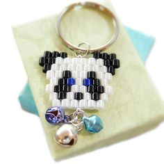 Cute Panda Keychain, Beaded Animal Charm, Brick Stitch by BeadCrumbs on Etsy
