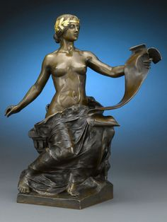 French Bronze figure 'L'Histoire' by Barbedienne 1890