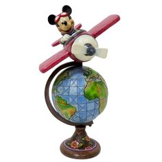 "Fly around the world with Mickey as your pilot! ""GLOBETROTTING ADVENTURE"" - AVIATOR MICKEY MOUSE WITH GLOBE FIGURINE (Jim Shore Disney Traditions) #Disney #JimShore"
