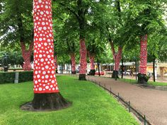 Helsinki, Finland. Esplanadi Park decorated with dots on red background by Yayoi Kusama.
