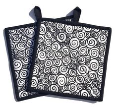 Abstract Quilted Fabric Potholders in Black and White, Set of two potholders, BBQ Accessory, Kitchen decor, Hot pad, Trivet,Quiltsy Handmade by LawsonCreations on Etsy