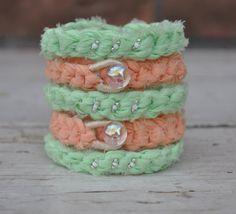 Crocheted Layering Bracelet Mint Green by yokieB on Etsy, $12.00
