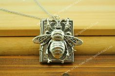 Bee Locket Necklace Rustic Silver Plated Finish by pandoraalina, $6.69