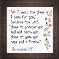 Plans of Hope - Jeremiah Quick Stitch Promises - Small Inspirational Cross Stitch Designs Counted Cross Stitch Patterns, Cross Stitch Charts, Cross Stitch Designs, Cross Stitch Embroidery, Hardanger Embroidery, Hand Embroidery, Cross Stitch Quotes, Mini Cross Stitch, Simple Cross Stitch